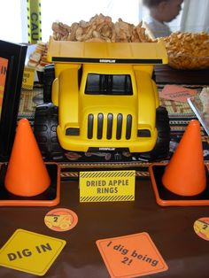 construction party - dump truck as snack holder!