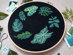 Tropical Leaves Cross Stitch Pattern Easy Counted Cross