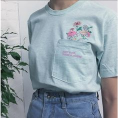 Just take these flowers SOFT GRUNGE- koko pocket unisex Tee ($35) ❤ liked on Polyvore featuring tops, t-shirts, grunge tops, blue top, blue t shirt, flower t shirt and cotton jersey
