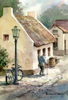 Roland Lee WATERCOLOR Irish Street at Bunratty