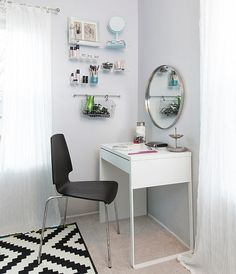 IKEA comes with unique furniture to enhance your home decor. Actally, IKEA MICKE is an compuer or office desk but can also be used as a Vanity table. When