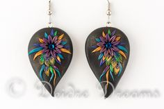 """Peacock Feather Earrings, Flower Earrings, Paisley Earrings, Hippie Earrings, Boho Earrings, Polymer Clay Flowers, Polymer Appliqued These beautiful Bohemian earrings are called """"Peacock Feather Bouquet"""""""