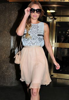 Another fashion icon Lauren Conrad wearing a printed eyelet tank from Tibi