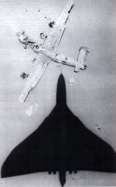 "Avro Vulcan over the wreck of the B-24 ""Lady Be Good"", Libya, date unknown"