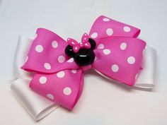 Minnie mouse bow minnie mouse hairbow Minnie Mouse center polka dot bow pink and white bow Minnie bow Minnie hair bow Flower Hair Bows, Ribbon Hair Bows, Diy Hair Bows, Diy Bow, Flowers In Hair, Ribbon Flower, Minnie Mouse Bow, Handmade Hair Bows, Boutique Hair Bows