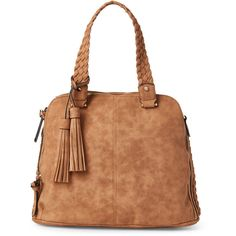 Violet Ray Cognac Logan Braided Satchel ($33) ❤ liked on Polyvore featuring bags, handbags, brown, brown leather satchel, satchel handbags, leather handbags, faux leather purses and brown satchel purse
