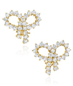 Cellini Jewelers round brilliant Bow Diamond Earrings  18 Karat Yellow Gold.
