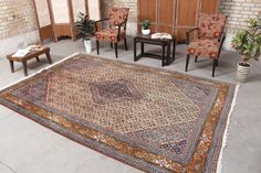 "Persian Oriental Oushak Rug 6'8"" x 9'9"", Code: 070684 large rug Small Area Rugs, Large Rugs, 8x10 Area Rugs, Geometric Rug, Rugs Online, Lovers Art, Vintage Rugs, Oriental, Traditional"