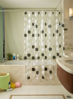 Bathroom Shower Curtain with Transparent Mosaic Pattern E12