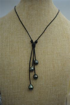 Tahitian pearl neklace Pearl and Leather Lariat by WenPearls