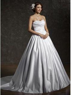 Ball-Gown Sweetheart Chapel Train Satin Wedding Dress With Ruffle Beading Bow(s) (002004538) - JJsHouse