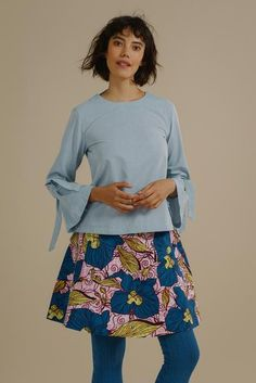 Likoma long bell sleeve top with V back in Sky Blue Organic Cotton - Mayamiko Sustainable Fashion Sustainable Fashion, Organic Cotton, Bell Sleeve Top, Tunic Tops, Blouse, Skirts, Sleeves, Color, Shopping