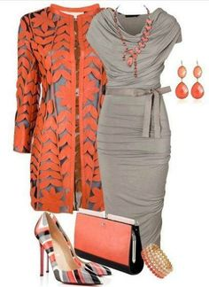 orange and gray outfit