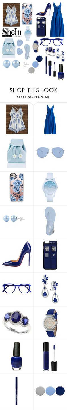 """""""Day to Night: light blue VS blue"""" by giulia-ostara-re ❤ liked on Polyvore featuring Mara Hoffman, Sugarbaby, Kaleos, Casetify, Lacoste, Badgley Mischka, Christian Louboutin, Effy Jewelry, OPI and Burberry"""