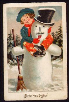 HAPPY NEW YEAR, NICE ART DECO VINTAGE POSTCARD, CUTE GIRL HAGGING SNOWMAN | eBay