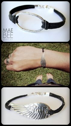 Leather, linen and Sterling Silver! #Bracelets from JewelryByMaeBee on #Etsy. www.jewelrybymaebee.etsy.com