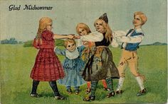 Swedish children celebrating Midsummer. 1900s. | Magic was considered strongest during Midsummer. Traditionally, young people pick bouquets of seven or nine different flowers and put them under their pillow in the hope of dreaming about their future spouse. In the past it was believed that herbs picked at Midsummer were highly potent, and water from springs could bring good health. Greenery placed over houses and barns were supposed to bring good fortune and health to people and livestock.