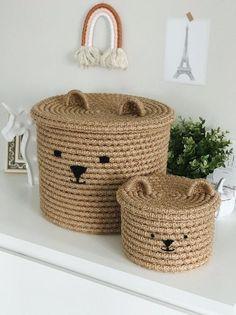 Jute bear basket for kid room Diy Crafts For Home Decor, Diy Crafts To Sell, Diy Crafts For Kids, Diy Storage Boxes, Jute Crafts, Rope Basket, Crochet Home, Kids Room, Handmade