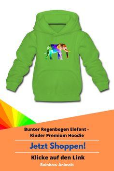 Kaufe deinem Kind diesen süßen Hoodie mit Elefanten-Motiv oder wähle in unserem Shop ein anderes Tier Design und lasse es dir auf den neuen Hoodie deine Kindes drucken. Noch heute bestellen! #Hoodie #Kinder #Kindermode #Modeidee #ootd #oftd #Elefant #RainbowAnimals #Säugetiere #Stile #Mode