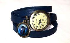 Leather watch bracelet -Tardis Doctor Who, 0338WNV from EgginEgg by DaWanda.com