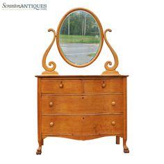Antique Birds Eye Maple Princess Serpentine Dresser Vanity w/ Oval Mirror