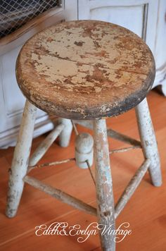 Vintage Milk Stool Wood Shabby Blue and by edithandevelyn on Etsy