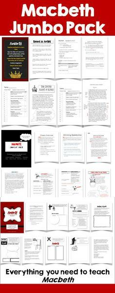 Everything you will need to teach Macbeth.  This bundle includes four of my Macbeth units: an inquiry unit, questions, tests, answer keys, assignments, etc. as well as a lesson that focuses on the elements of tragedy. It also includes Macbeth Games!