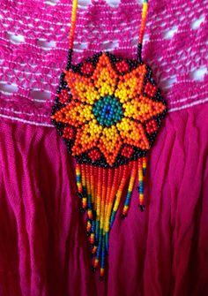 Rainbow of color Huichol Beaded Necklace by DeannaBratt on Etsy