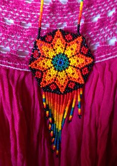 Rainbow of color Huichol Beaded Necklace by DeannaBratt on Etsy