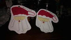 Kids santa hand prints made from salt dough 2013