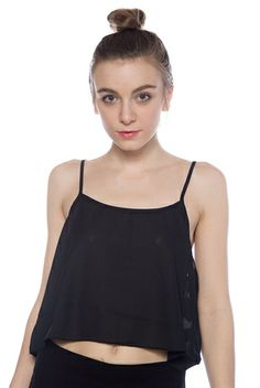 Light of Day Chiffon Crop Top - Black from TCEC at Lucky 21