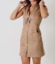 Dress daim camel with zipper. Shirt Dress, T Shirt, Camel, Zipper, Clothing, Dresses, Style, Fashion, Supreme T Shirt