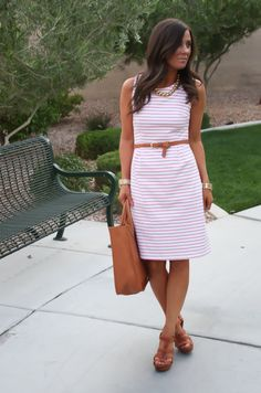 Pink and white striped dress with cognac accessories - so versatile and looks really comfortable! via @TheShoppingMama