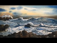 How to Paint Watercolor Seascape. Process of watercolor painting step by step full length demonstration by Prashant Sarkar. Watercolor Portrait Painting, Watercolour, Persian Blue, Step By Step Painting, Pastel Drawing, Medium Art, Pastel Colors, Painting Tutorials, Landscape