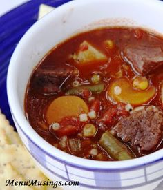 Old Fashioned Vegetable Beef Soup - when you really want comfort food, this hits the spot!  Step-by-step photos to this easy, delicious, and healthy soup!