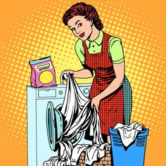 Buy Woman Washes Clothes Washing Machine by studiostoks on GraphicRiver. A woman washes clothes in a washing machine pop art retro style. Art Pop, Pop Art Girl, Desenho Pop Art, Laundry Art, Pop Art Women, Vintage Housewife, Vintage Laundry, Pop Characters, Baby Clip Art