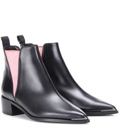Acne Studios Jensen black and pink leather ankle boots