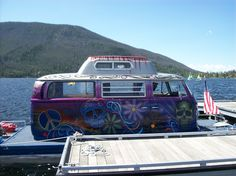 Fun boat parked at public boat docks in front of the Western Riviera . . . www.stayingrandlake.com