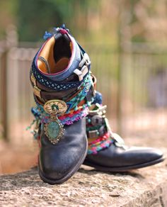 Black tribal upcycled reworked cowboy boots from TheLookFactory on Etsy