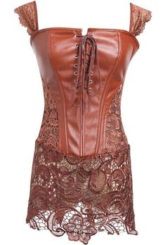 177a6f9e10 Brown Corsets Set Square Neck Lace Up Sleeveless Lace Patchwork Corset With  T Back For Women