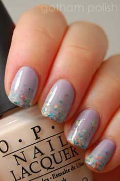 Gradient glitter sandwich! So awsome...doing this next. OPI - Do You Lilac It? + Milani - Gems + OPI So - Many Clowns... So Little Time