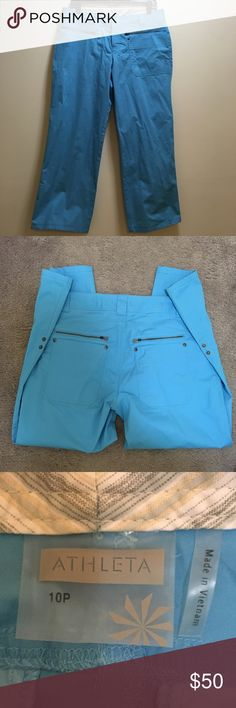 """Sz 10P Athleta Light Blue Pants EXCELLENT condition  Light blue Plenty of pockets Accent snaps on legs  Super cute My mom only wore these a few times and she hasn't worn them in a year so we are Poshing! Waist laying flat 17"""" Rise 9.5""""  Inseam 25.5"""" Athleta Pivot Pants Athleta Pants"""