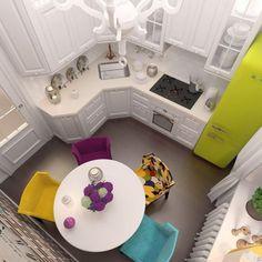 best small kitchen design ideas for your tiny space 13 Kitchen Interior, New Kitchen, Interior Design Living Room, Kitchen Decor, Kitchen Counters, Apartment Kitchen, Kitchen Cabinets, Kitchen White, Countertop