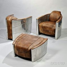 Aviator style chair and ottoman Art Deco Furniture, Steel Furniture, Unique Furniture, Industrial Furniture, Living Room Furniture, Furniture Design, Furniture Nyc, Furniture Movers, Aviation Furniture
