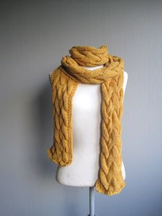 Long scarf hand knitted mustard scarf cable woman man scarf soft warm scarf alpaca on Etsy, kr 822,26