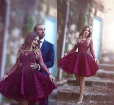 Cheap 2016 Short Homecoming Dresses Illusion Neck Long Sleeves Lace Appliques Beaded Burgundy Evening Wear Prom Party Dress Cocktail Gowns 2017 Homecoming Short Dresses Homecoming Cocktail Dress Short Homecoming Dress Online with 145.15/Piece on Yes_mrs's Store   DHgate.com