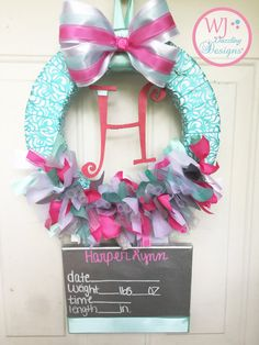 Baby Girl Wreath. Hospital/Nursery Door Hanger. Birth Announcement. Hospital Door Wreath.