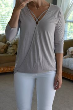 Stitch Fix Review September 2017: Le Lis Rimona Cupro Cross-Front Knit Top |www.pearlsandsportsbras.com|