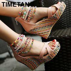 2016 fashion new Bohemia beaded sandals female wedge platform shoes gladiator ankle strap elegant women high heel sandals