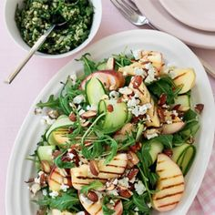 Grilled peach, smoked almond and zucchini salad with chunky salsa verde Healthy Food, Yummy Food, Healthy Recipes, Salad Works, Chunky Salsa, Zucchini Salad, Grilled Peaches, Barbecue Chicken, Xmas Food